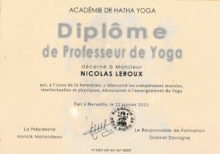 Nicolas Leroux diplôme hatha yoga