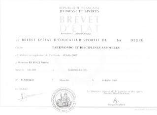 Nicolas Leroux : Diplôme Brevet d'Éducateur sportif Taekwondo et Disciplines Associées