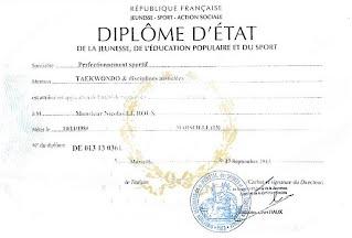 Nicolas Leroux diplôme d'état