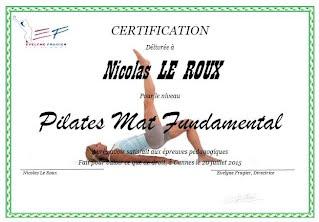 Nicolas Leroux : Diplôme de Pilates Mat Fundamental