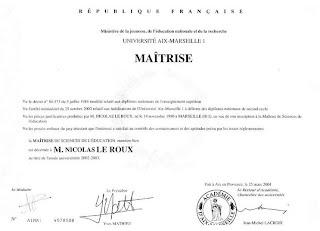 Nicolas Leroux : Diplôme de Maîtrise de Science de l'Education, Ministère de l'Education nationale