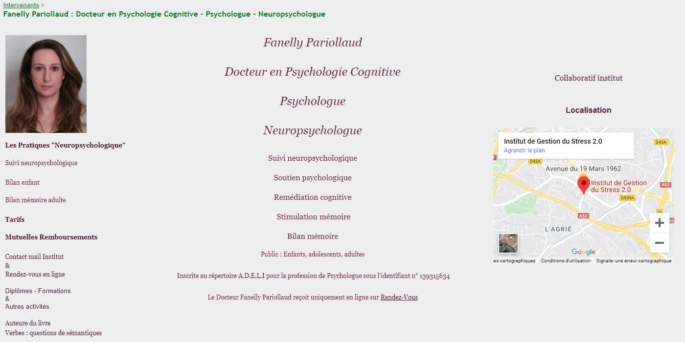 Pariollaud Alexia Docteur en Psychologie Cognitive - Neuropsychologue